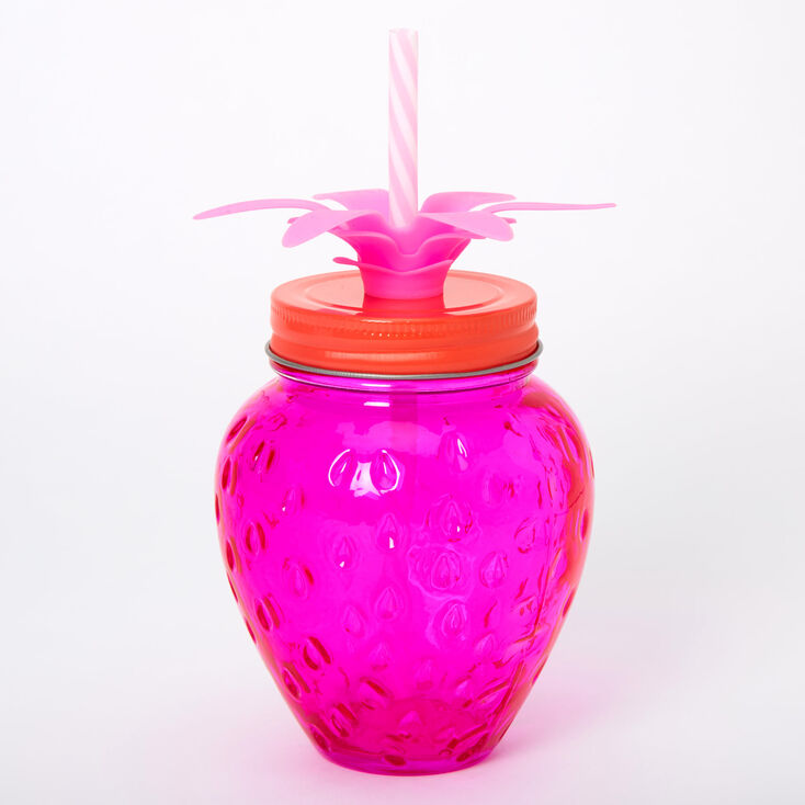 Strawberry Mason Jar Cup - Pink,