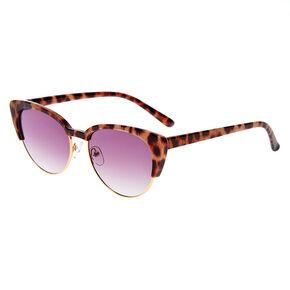 Lunettes de soleil œil de chat avec ligne des sourcils léopard - Marron,