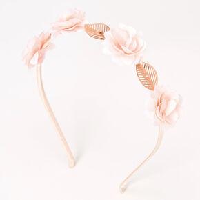 Serre-tête avec feuille et fleur couleur doré rose - Rose tendre,
