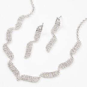 Silver Rhinestone Waves Jewelry Set - 2 Pack,