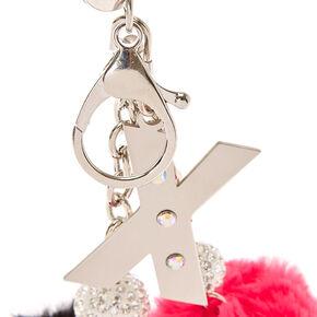 Porte-clés à pompons rose et noir avec initiale «X»,