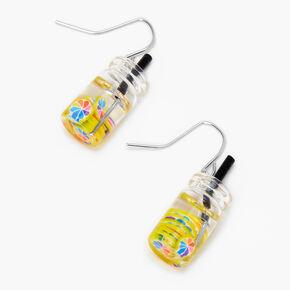 """Silver 1"""" Rainbow Water Drop Earrings,"""