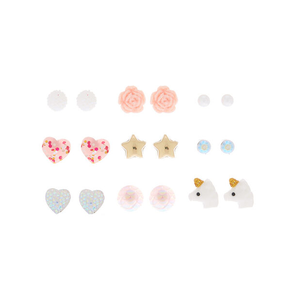 Claire's - stud earrings - pink, 9 pack - 1