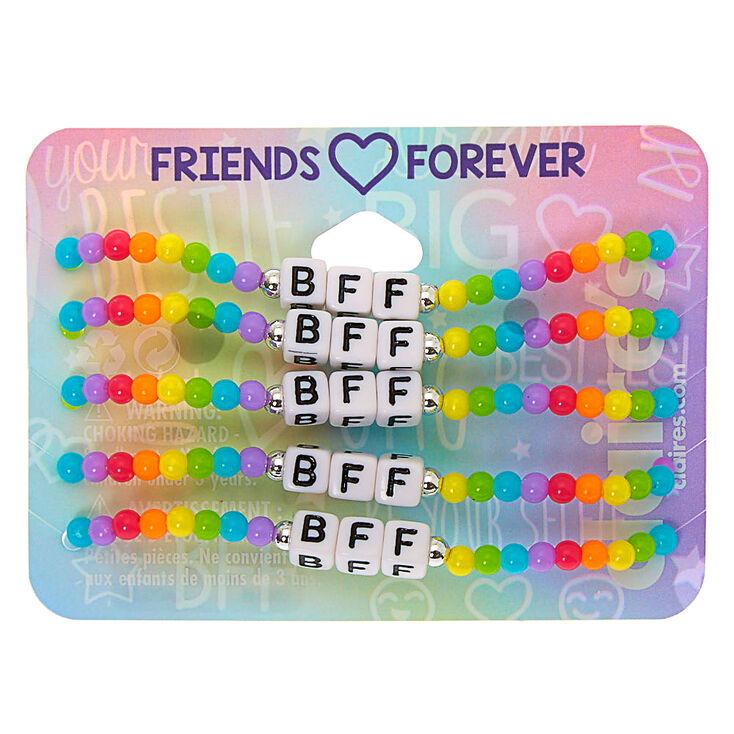 Rainbow Bead Stretch Friendship Bracelets - 5 Pack,