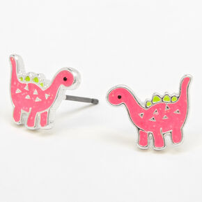 Silver Dinosaur Stud Earrings - Pink,
