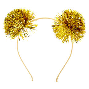 Serre-tête oreilles à pompons guirlandes couleur doré,