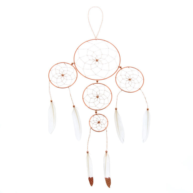 Glitter Feather Dreamcatcher Wall Art - Rose Gold,