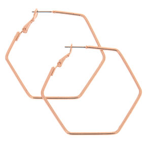 Rose Gold 40MM Hexagon Hoop Earrings,