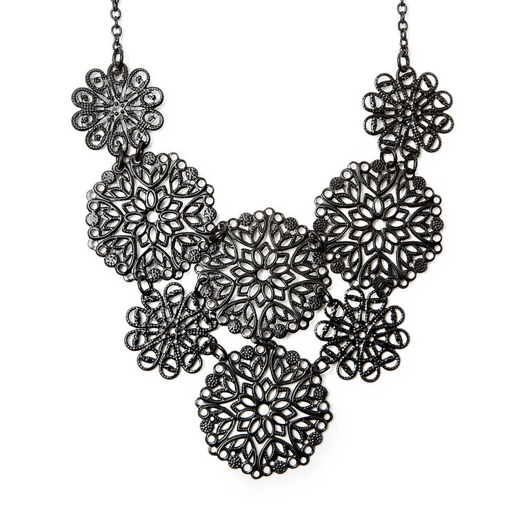 Filigree flowers statement necklace claires us filigree flowers statement necklace mightylinksfo