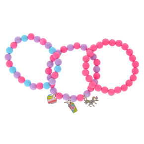 Claire's Club Beaded Stretch Bracelets - Pink, 3 Pack,