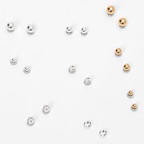 Clous d'oreilles aimantés ronds de différentes tailles en métaux mixtes - Lot de 9,