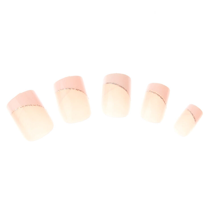 Glitter French Manicure Square Faux Nail Set - Pink, 24 Pack,