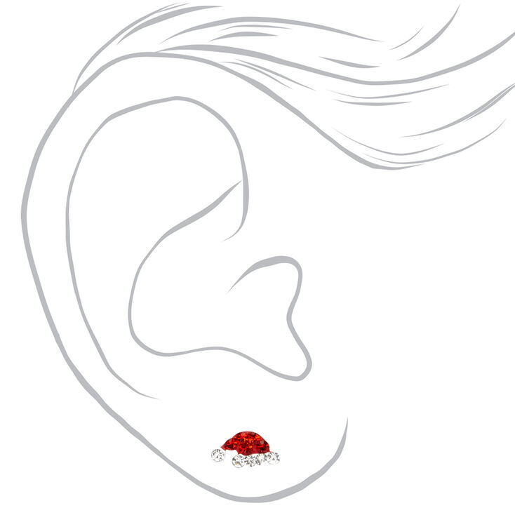 Sterling Silver Santa Hat Stud Earrings,