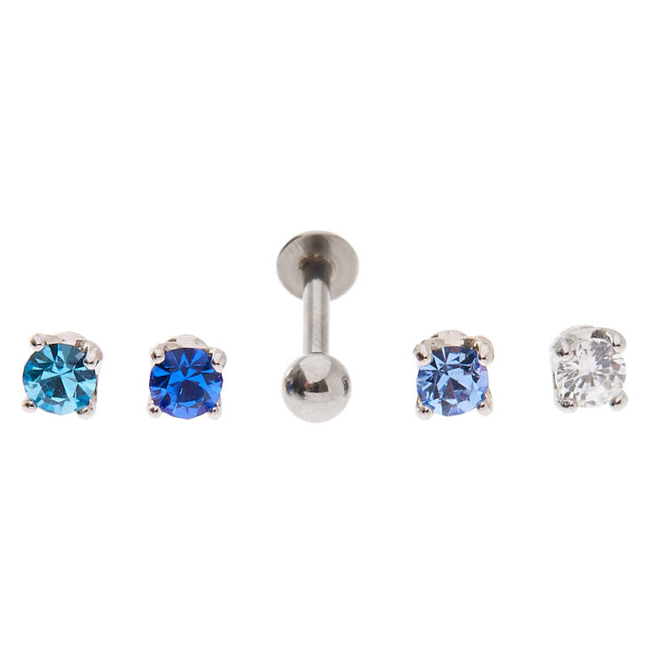 Silver Multi Crystal Changeable Tragus Earrings - Blue, 5 Pack,