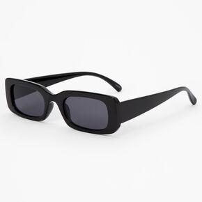 Rectangular Retro Sunglasses - Black,