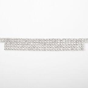 Silver Rhinestone Flapper Fringe Choker Necklace,