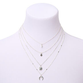Silver Horn Multi Strand Necklace,