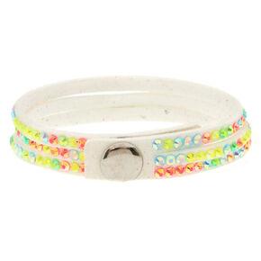 Rainbow Embellished Wrap Bracelet - White,