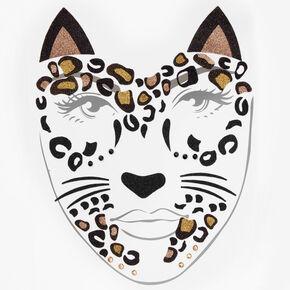 Halloween Glitter Leopard Temporary Face Tattoo - Black,