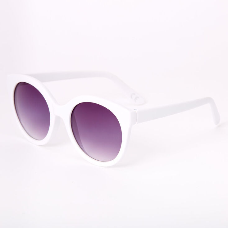 Rounded Mod Sunglasses - White,