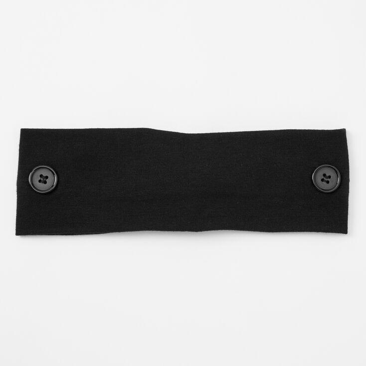 Solid Button Headwrap - Black,
