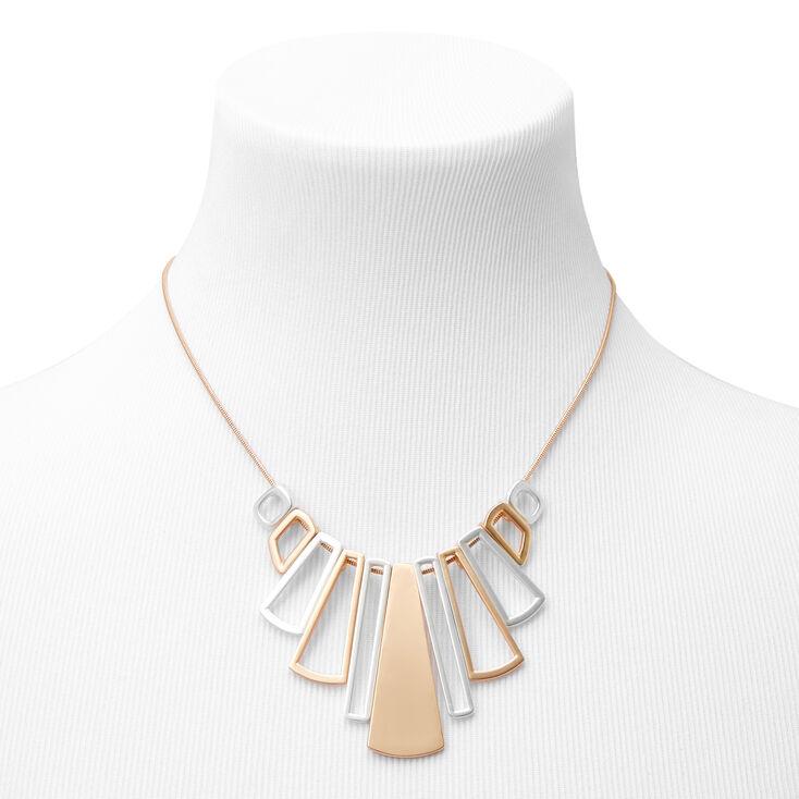 Mixed Metal Geometric  Pendant Statement Necklace,