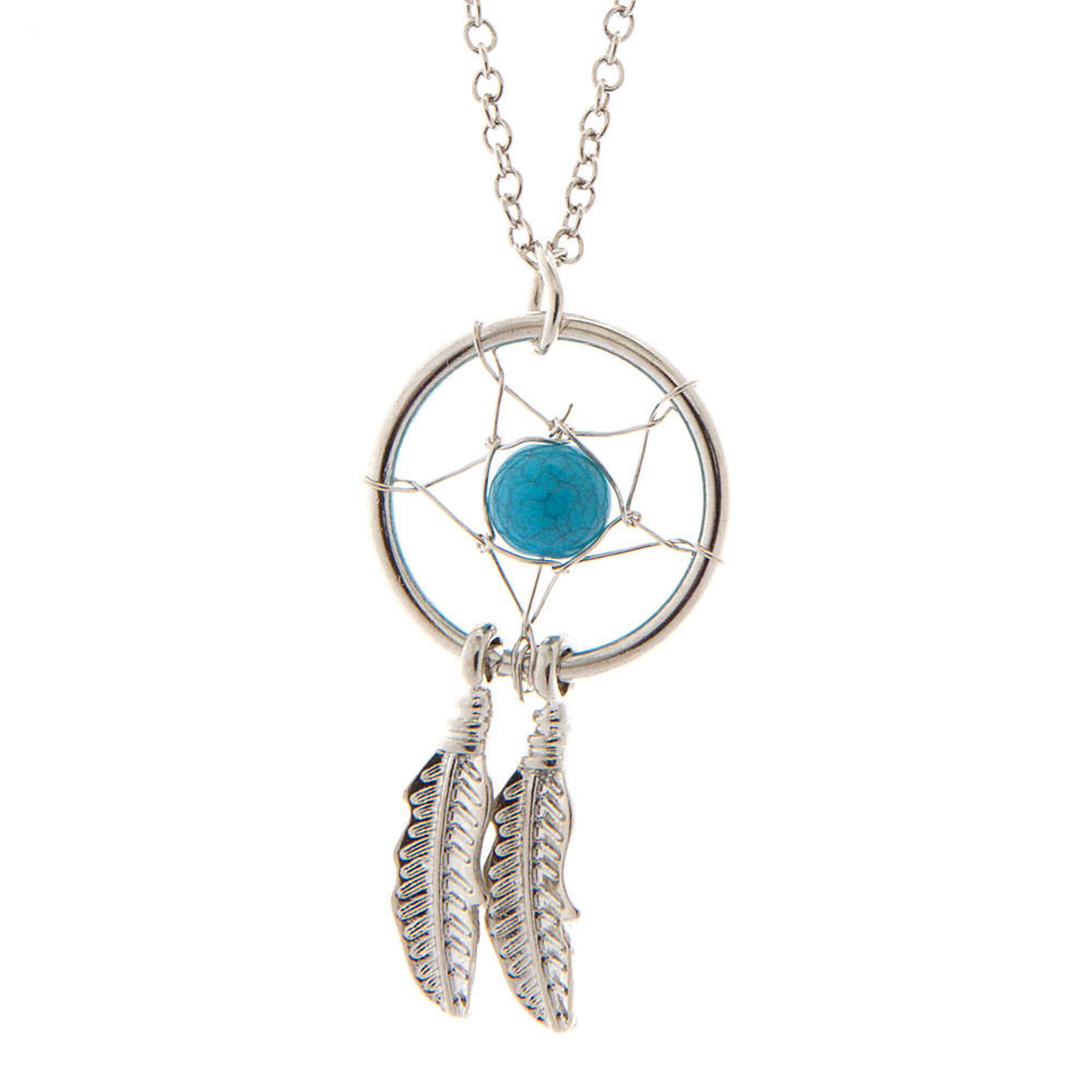 Silver and turquoise bead dream catcher pendant necklace claires us silver and turquoise bead dream catcher pendant necklace aloadofball Images