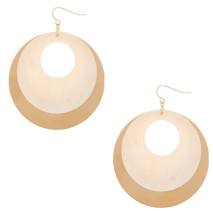 """Gold 2.5"""" Open Seashell Drop Earrings - White,"""