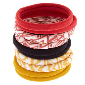 Aztec Print and Solid Hair Bobbles - Burgundy, 10 Pack,
