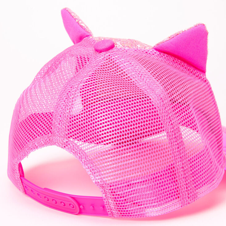 Glitter Cat Ears Trucker Hat - Pink,
