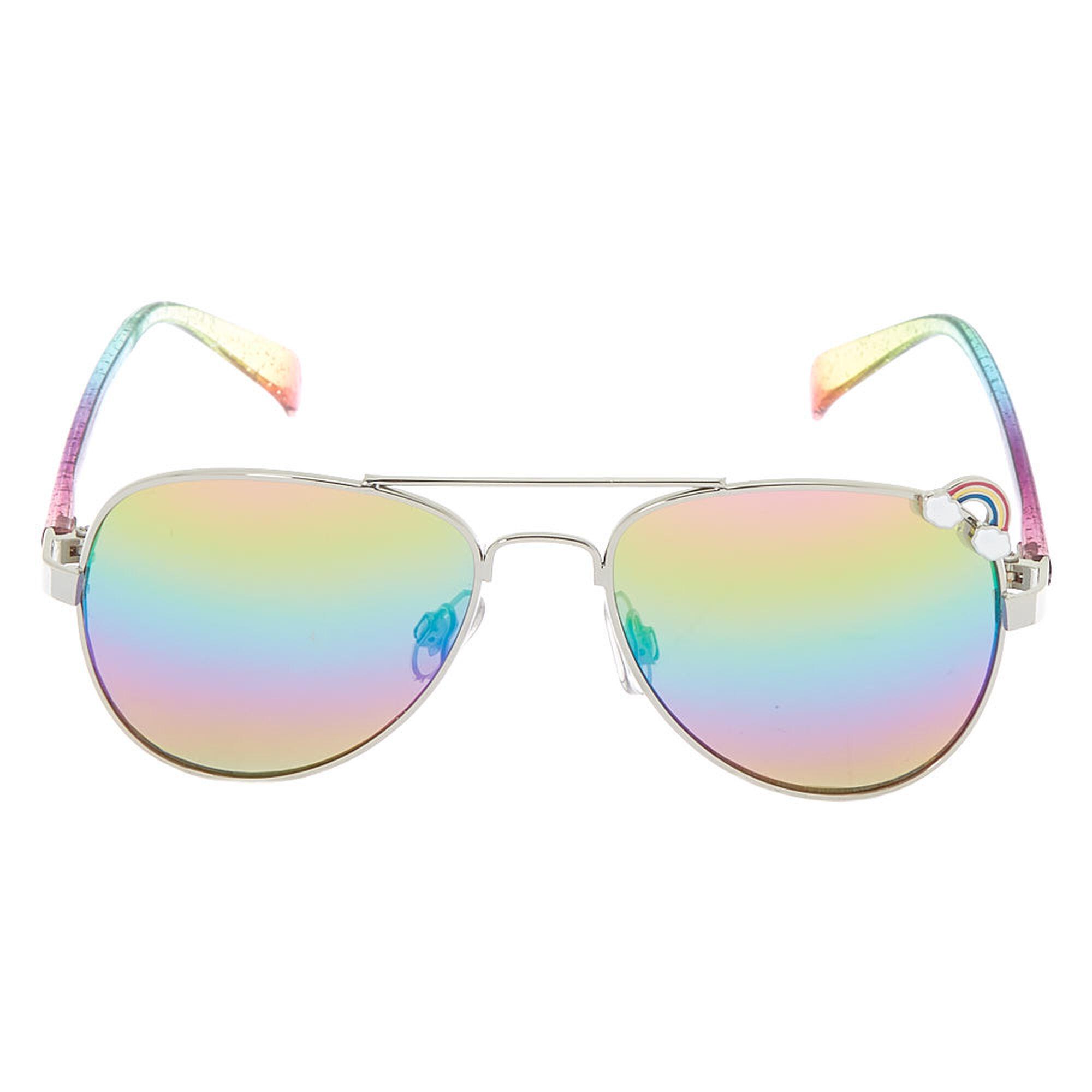 247a1fb39d ... Claire  39 s Club Rainbow Aviator Sunglasses