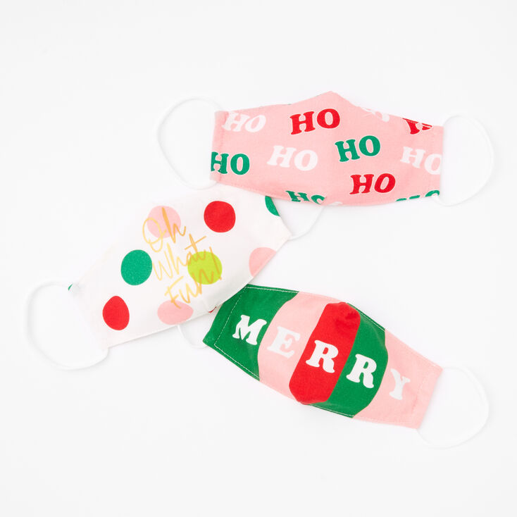 3 Pack Cotton Christmas Greetings Face Masks - Child Medium/Large,