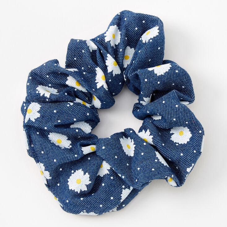 Medium Blue Denim Daisy Dotted Hair Scrunchie,