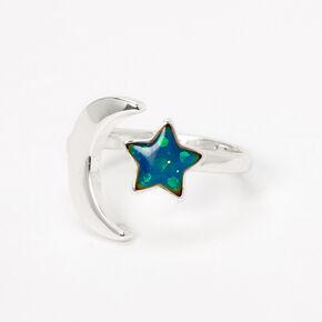 Bague d'humeur lune et étoile - Couleur argentée,