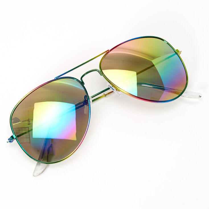Metallic Rainbow Aviator Sunglasses,