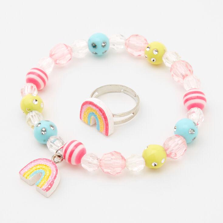 Claire's Club Glitter Rainbow Jewelry Set - 3 Pack,