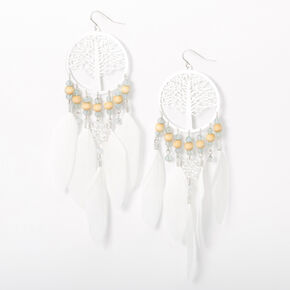 """Silver 5.5"""" Tree Of Life Beaded Feather Drop Earrings - White,"""