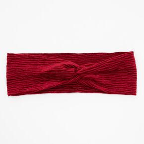 Bandeau torsadé plissé en imitation velours - Bordeaux,