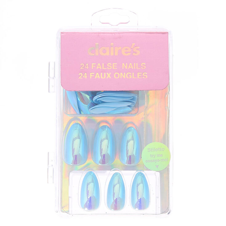 Iridescent Stiletto Faux Nail Set - Blue, 24 Pack,