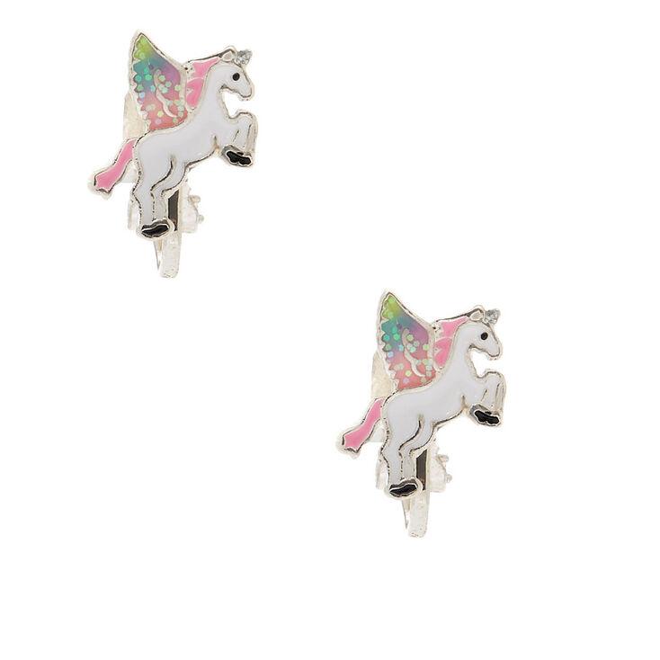Flying Unicorn Clip On Earrings,