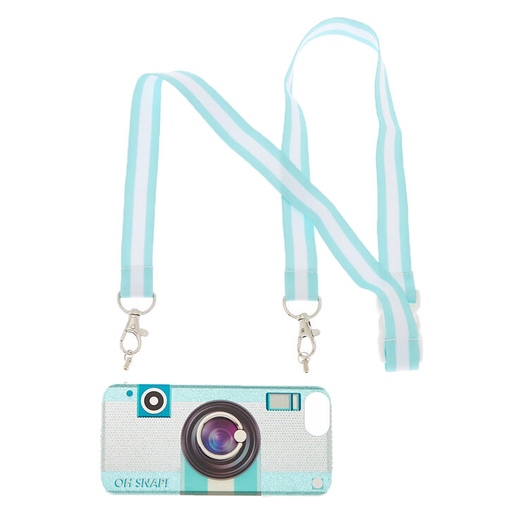 Glitter Camera Phone Case with Lanyard - Fits iPhone 6/7/8/SE,