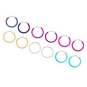 Silver 10MM Anodized Rainbow Hoop Earrings - 6 Pack,
