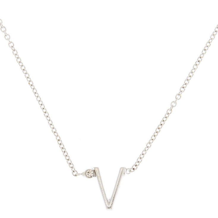 Silver Stone Initial Pendant Necklace - V,