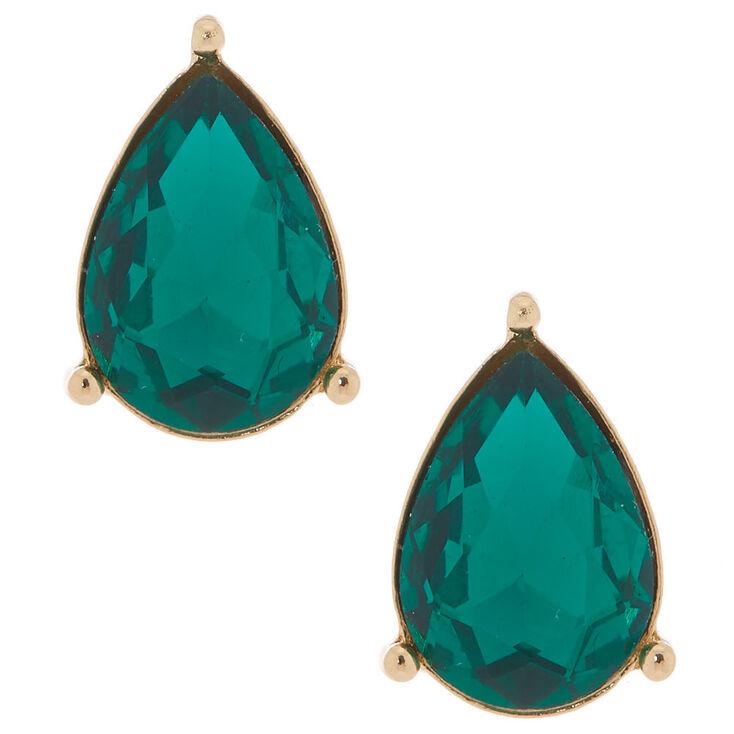 Teardrop Stud Earrings Emerald