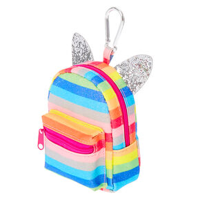 Rainbow Glitter Striped Mini Backpack Keychain,