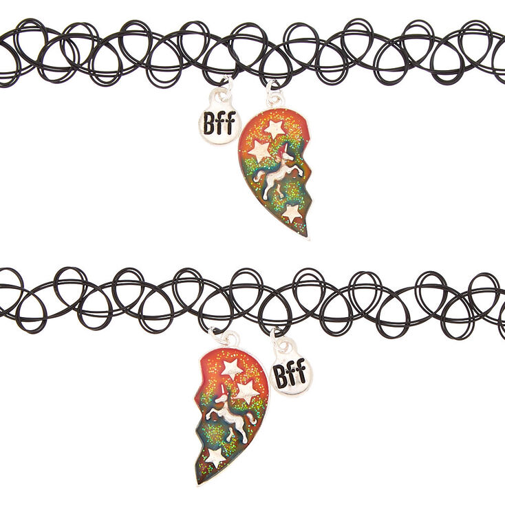 Best Friends Mood Cosmic Unicorn Tattoo Choker Necklaces - 2 Pack,