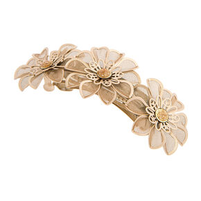 Gold Mesh Flower Hair Clip,