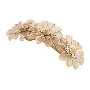 Gold Mesh Flower Hair Clip,
