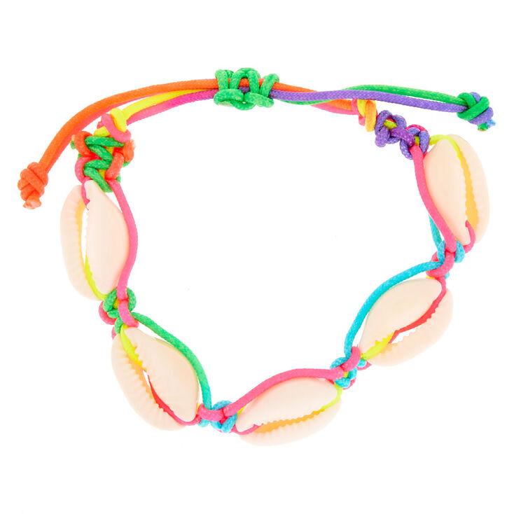 Rainbow Cowrie Shell Adjustable Bracelet,