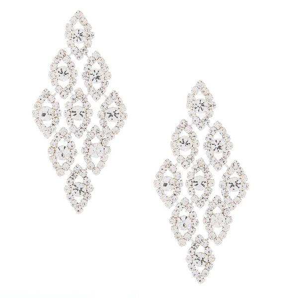 """Claire's - glass rhinestone 2.5"""" chandelier earrings - 1"""